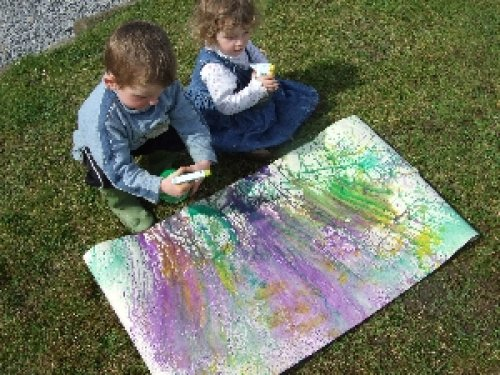 Safe Creative Spray Painting with Children. Outdoor Play with Children.