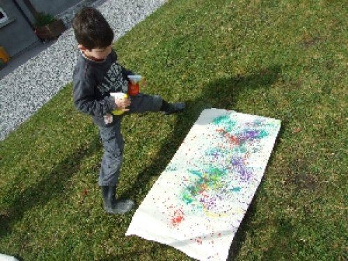 Safe Creative Spray Painting for Children. Outdoor Play with Children.