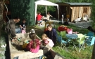 Glamping In Ireland. Outdoor Communal Dining Area and Children's Play Area