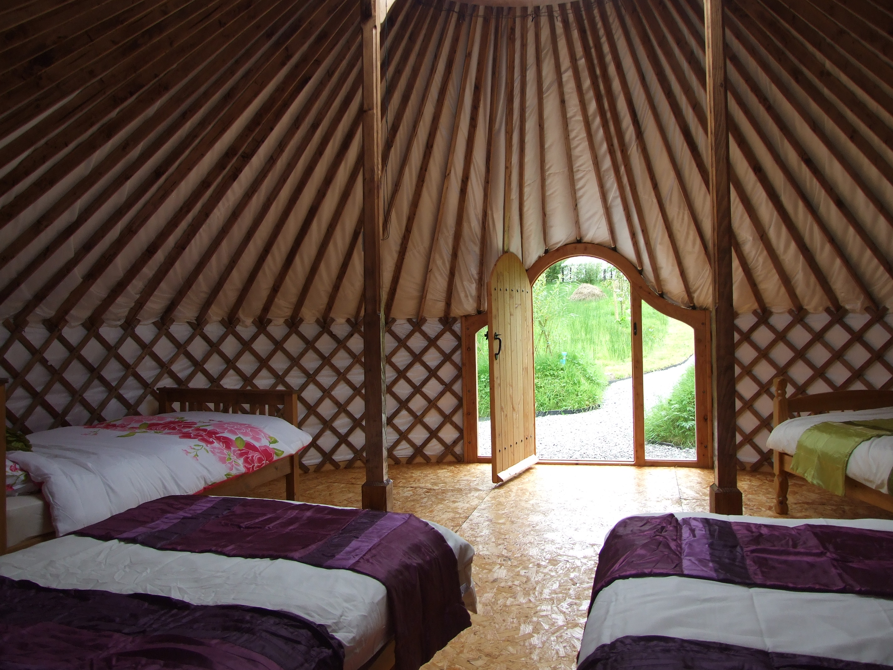 Glamping In Ireland. The Interior of Drift Wood Yurt. Made in Ireland