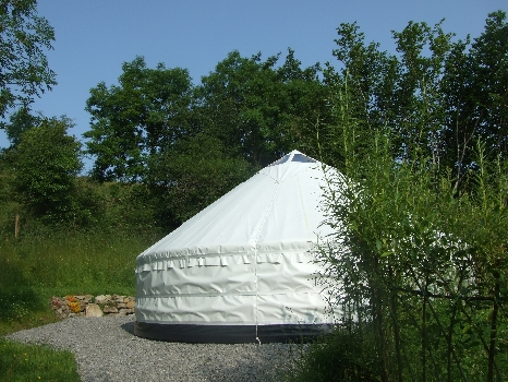 Sunrise Sanctuary Yurt at Pink Apple Orchard. Glamping In Ireland.