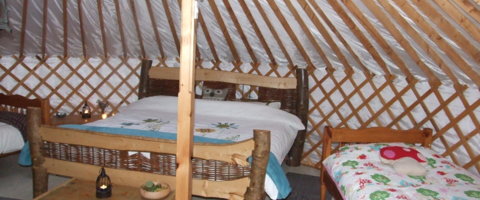 Irelandglamping, Interior of Pink Apple Orchards Yurts, Glamping,