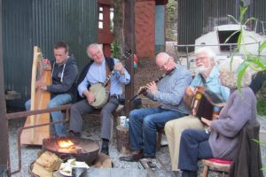 Traditional Irish Music Playing At Pink Apples Glamping Site